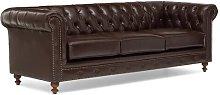 Alborghus Leather 3 Seater Chesterfield Sofa