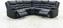 Albury Bonded Leather Black Corner Recliner Sofa