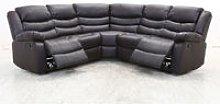 Albury Bonded Leather Brown Corner Recliner Sofa