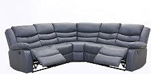 Albury Bonded Leather Grey Corner Recliner Sofa