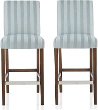 Alden Bar Stools In Duck Egg Fabric And Walnut