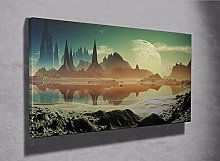 Alein landscape Space Moon framed canvas print