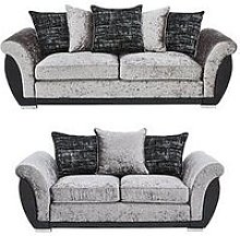Alexa Fabric And Faux Leather 3 Seater + 2 Seater