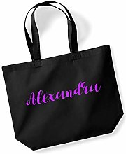 Alexandra Personalised Shopping Tote in Black