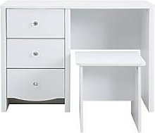 Alexis Dressing Table and Stool Set , White