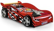 Alfred Kids Racing Car Bed In High Gloss Red