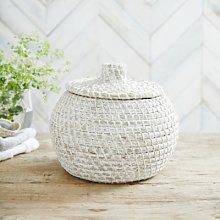 Alibaba Small Round Basket, White, One Size
