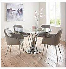 Alice Glass Top Dining Table + 4 Alisha Chairs -