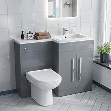 Alice Right Hand Light Grey Bathroom Basin Vanity