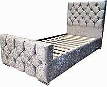 Alice Upholstered Diamante Single Bed Frame in