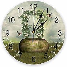 alicefen Bird Wreath Wall Clock Kitchen Home
