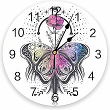 alicefen Butterfly Lotus Wall Clock Kitchen Home