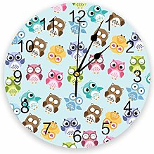 alicefen Colorful Owl Cute Cartoon Round Wall