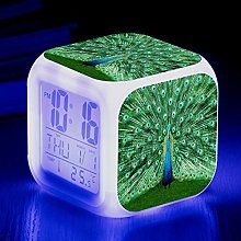 alicefen Colorful Square Clock With Peacock