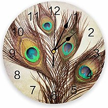 alicefen Peacock Feather Wall Clock Kitchen Home