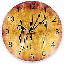 alicefen Petal Leaf Woman Retro Wall Clock For