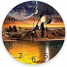 alicefen Planet Landscape Wall Clock Kitchen Home