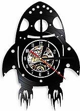 alicefen Retro Rocket Ship Wall Clock with LED
