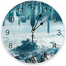 alicefen Snow Mountain City Sky Print Wall Clock