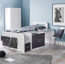 Alicia Storage Cabin Bed In White And Charcoal