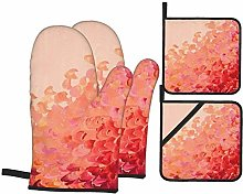 AlineAline 4Pcs Oven Mitts And Pot Holders,Coral