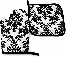 AlineAline Black And White Damask Coral Pink Oven