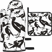 AlineAline Magpie Black N White Set of Oven Mitts
