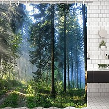Alishomtll Forest Shower Curtain, Green Anti-Mould