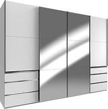 Alkesu Mirrored Sliding 4 Doors Wardrobe In White