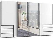 Alkesu Mirrored Sliding 5 Doors Wardrobe In White