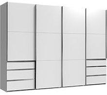 Alkesu Wooden Sliding 4 Doors Wardrobe In White