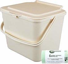 All-Green 5L Cream Kitchen Compost Caddy/Food Bin