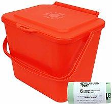 All-Green 5L Red Kitchen Compost Caddy/Food Bin &