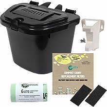 All-Green Black 5L Vented Kitchen Compost Caddy -