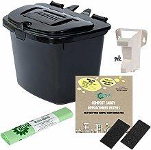 All-Green Black 7L Kitchen Compost Caddy Food Bin