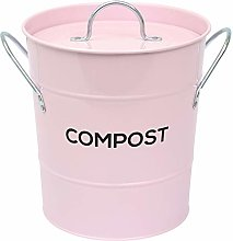 All-Green Pale Pink Metal Kitchen Compost Caddy -