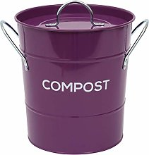 All-Green Purple Metal Kitchen Compost Caddy -