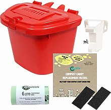 All-Green Red 5L Vented Kitchen Compost Caddy -