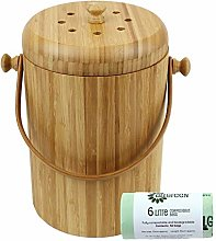 All-Green Round Wooden Bamboo Kitchen Compost