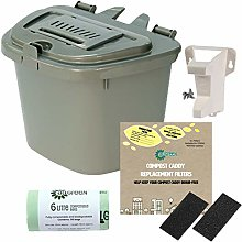All-Green Silver Grey 5L Vented Kitchen Compost