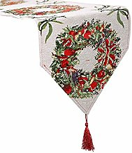 ALLA Christmas Fabric Printed Tablecloth, Knitted