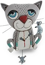Allen Designs Mouser Whimsical Gray Cat Pendulum