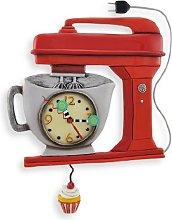 Allen Designs Red Vintage Kitchen Mixer Wall Clock