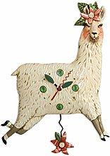 Allen Designs Whimsical Llama Pendulum Wall Clock