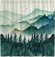 Allenjoy 72x72 Watercolor Mountain Forest