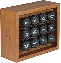 AllSpice Wooden Spice Rack, Includes 12 118ml