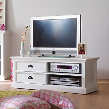 Allthorp Solid Wood TV Stand In White With 2