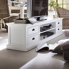 Allthorp Solid Wood TV Stand Large In White With 4