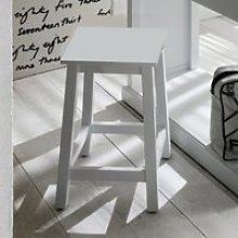 Allthorp Wooden Kitchen Stool In Classic White