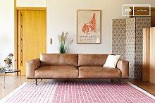 Almond 3-seater sofa brown